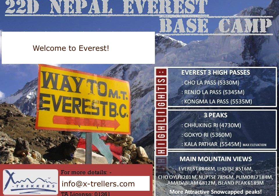 22 Days Everest Base Camp – 3 Peaks (4730m, 5360m, 5545m) Nepal