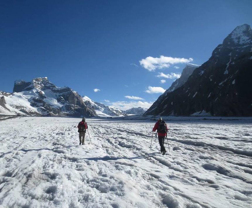 Miyar Valley-2 Walking on the 24 Km long Miyar Glacier, heading up to Kang La