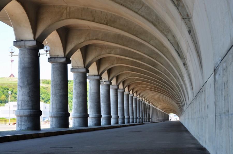 Wakkanai Port Northern Breakwater Dome - Colonnade like Greek construction